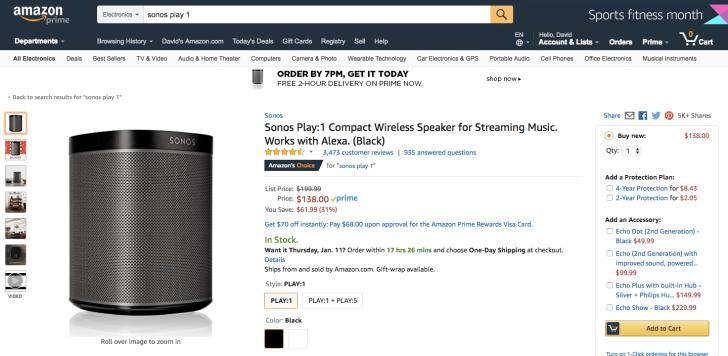 sonos play 1 wireless speaker bluetooth amazon deal