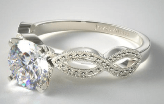 best custom engagement rings - Vintage Ring Setting With Round Cut Diamonds