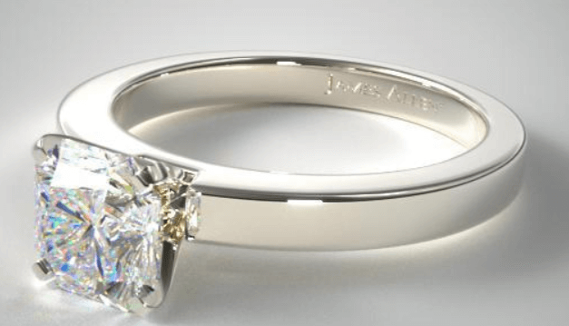 Solitaire Ring Setting With Radiant Cut Diamond