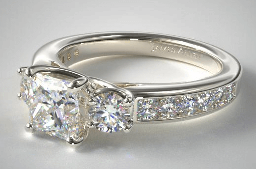 3 Stone Ring Setting With Princess Cut Diamond