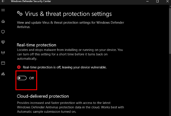 Real-Time Protection in Windows Defender