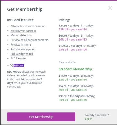 real life cam membership costs