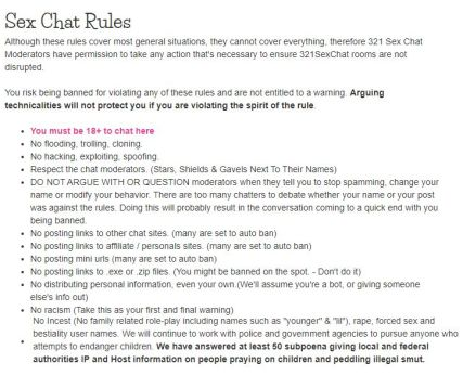 sex chat rules of 321 sex chat
