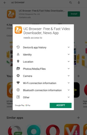 Accept the list of permissions