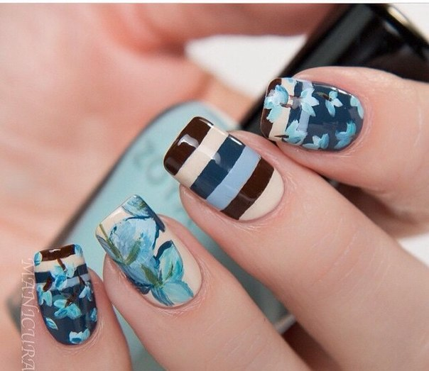 Purple Spring Fl Nail Art Design