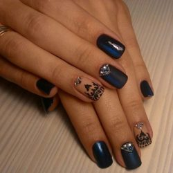 A Simple Yet Elegant Looking Blue Themed Nail Art Design This Uses Midnight