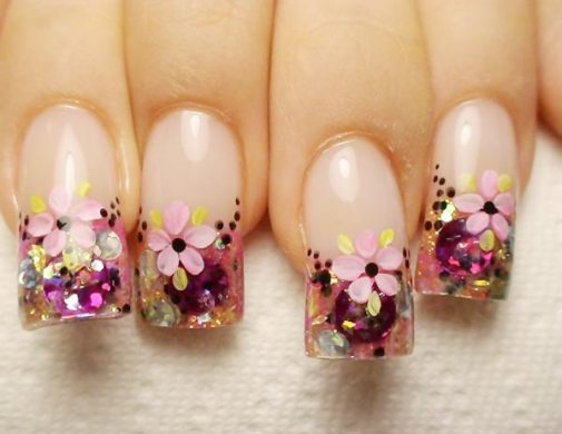Flower French nails   The Best Images   BestArtNails com Flower French nails photo