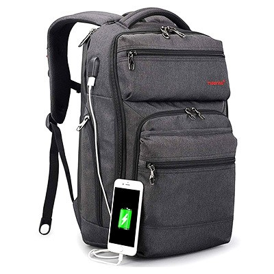 TIGERNU Business Backpack for Laptop with USB Charging Port, Lightweight, Water-Tear Resistant (Dark Gray)