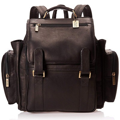 Claire Chase Jumbo Leather Small Laptop Backpack