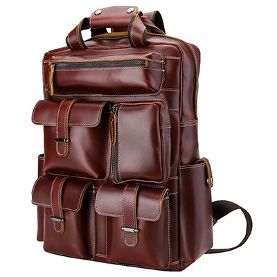 Polare Men's Handcrafted Real Leather Vintage Laptop Backpack