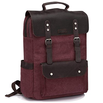 Vaschy Vintage Leather Canvas Backpack