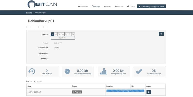 backup linux server using bitcan