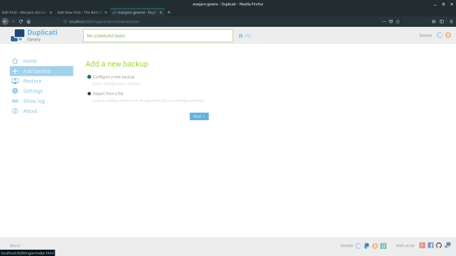 Install Duplicati Backup on Manjaro and Arch Linux