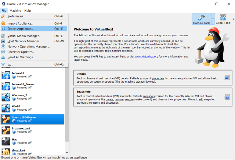 Export virtual machine from virtualbox to vmware