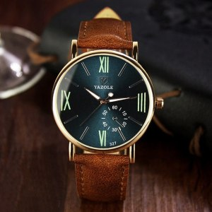 Yazole 327 Men's Leather Strap Wrist Watch