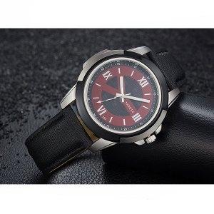 Yazole 383 Men's Leather Strap Wrist Watch - Black Strap