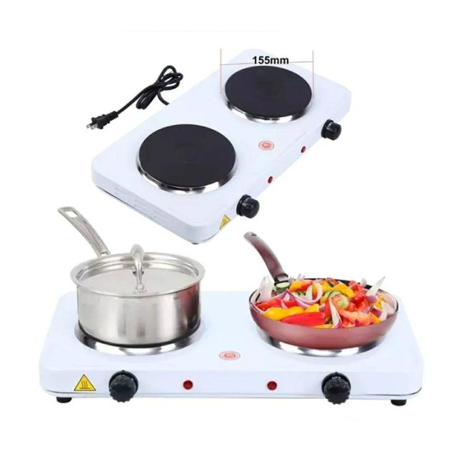 Electric Hot Plate Double - 2500W (White)
