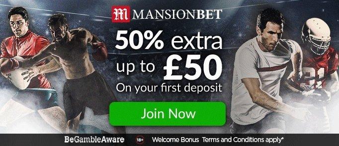 get up to £50 bonus when you sign up to Mansionbet
