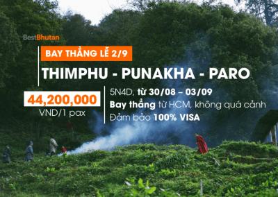 Khám phá văn hoá Bhutan 5N4Đ Paro – Punakha – Thimphu. Trải nghiệm đặc biệt bay thẳng từ Tp. HCM, Việt Nam (30/08/2018 – 03/09/2018)