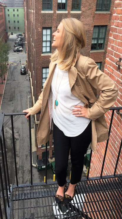 Reloved: Marc Jacobs trench, Madewell silk white top, Jessica Simpson flats, statement necklace