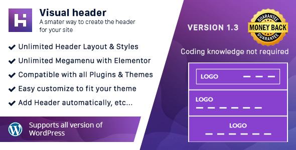 Visual Header - Header Builder for WordPress - CodeCanyon Item for Sale