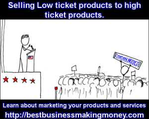Selling Low ticket products to high ticket products.