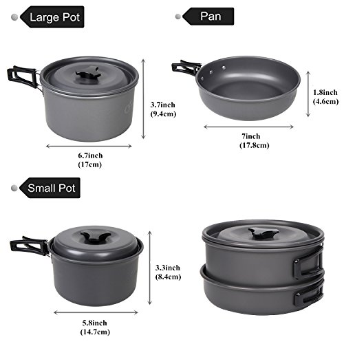 Yodo Anodized Aluminum Camping Cookware Set Backpacking Pans Pot Mess Kit For 2 3 Person Best Camp Kitchen