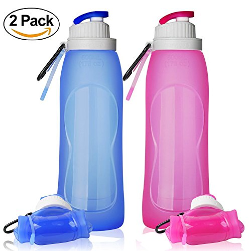 Silicone Travel Collapsible Sport Flex Water Bottle Foldable Hiking 500ML//17OZ
