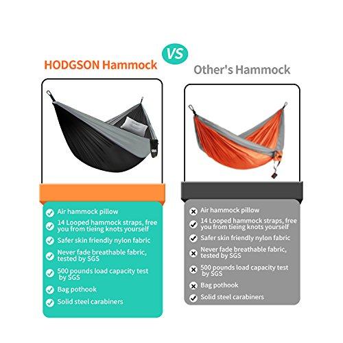 HODGSON Camping Hammock XL Double Hammock with Heavy Duty 14 Loops Tree  Straps & Air Pillow, Portable Parachute Nylon Hammock for Backpacking,  Travel,