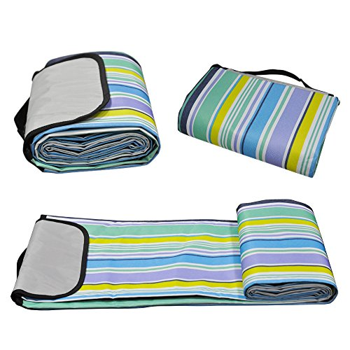 Hiking,Beach,Party,Camping on Grass Sandproof Water-Resistant Handy Picnic Mat Tote 80 X 58 WETONG Extra Large Outdoor Waterproof Foldable Picnic Blanket Tote for Family Concerts