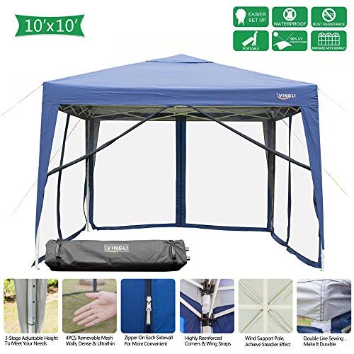VINGLI 10'x10'/ 10'x20' EZ Pop Up Canopy Tent w/Removable Zippered Mesh  Sidewalls & Portable Wheeled Carrying Bag, for Patio/Gazebo/Camping/Outdoor