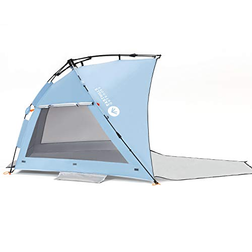 Double Silver Coating Extra Large Sun Shelter Easthills Outdoors Coastview Easy Setup Beach Tent UPF 50 Extended Zippered Porch Included