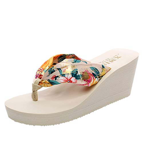 Sllve hive Women's Print Clip Toe Wedge Sandals Casual Muffin Thick Soled Bohemian Beach Flip Flops Slipper