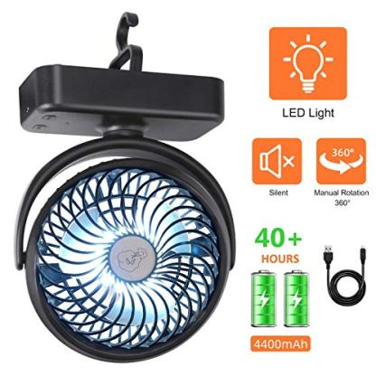 REENUO Portable LED Camping Lantern with Tent Ceiling Fan,Rechargeable  4400mAh Battery Powered Table Fan (Max Working 40 Hours) Mini Portable Desk  Fan