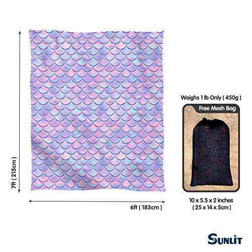 Navy Blue Wave Curve Travel Sunlit Silky Soft Sand Proof Beach Blanket Sand Proof Mat with Corner Pockets and Mesh Bag for Beach Party Camping and Outdoor Music Festival