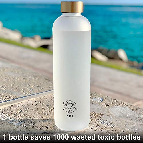 Non-Toxic Frosted Plastic Leakproof Water Bottle with Time Marker Durable for Fitness Travel and Outdoors Sports 32 OZ Gym BPA Free 1 Liter Motivational Reusable Water Bottles