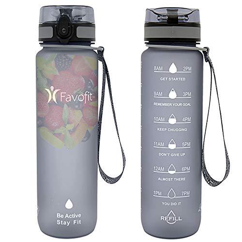 Favofit Water Bottle with Time Marker 32 oz 1 Liter Motivational Water Bottle