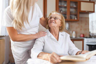 providing care for elderly woman