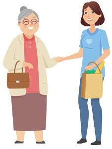 senior lady getting groceries