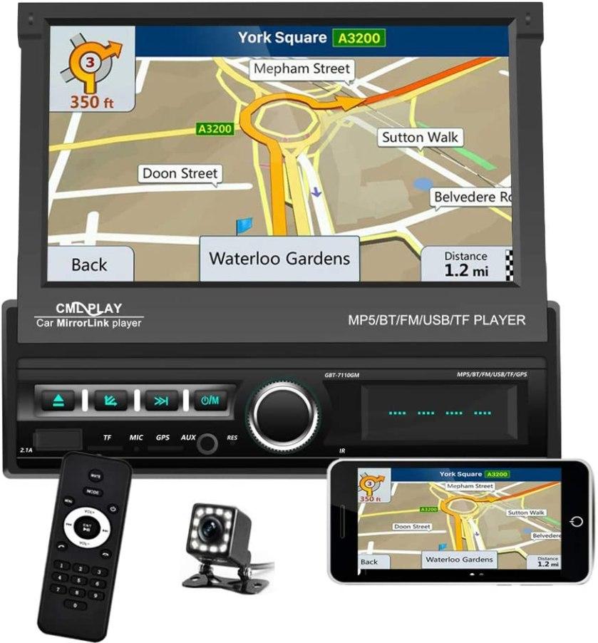 Single Din Car Stereo Navigation Motorized Touch Screen
