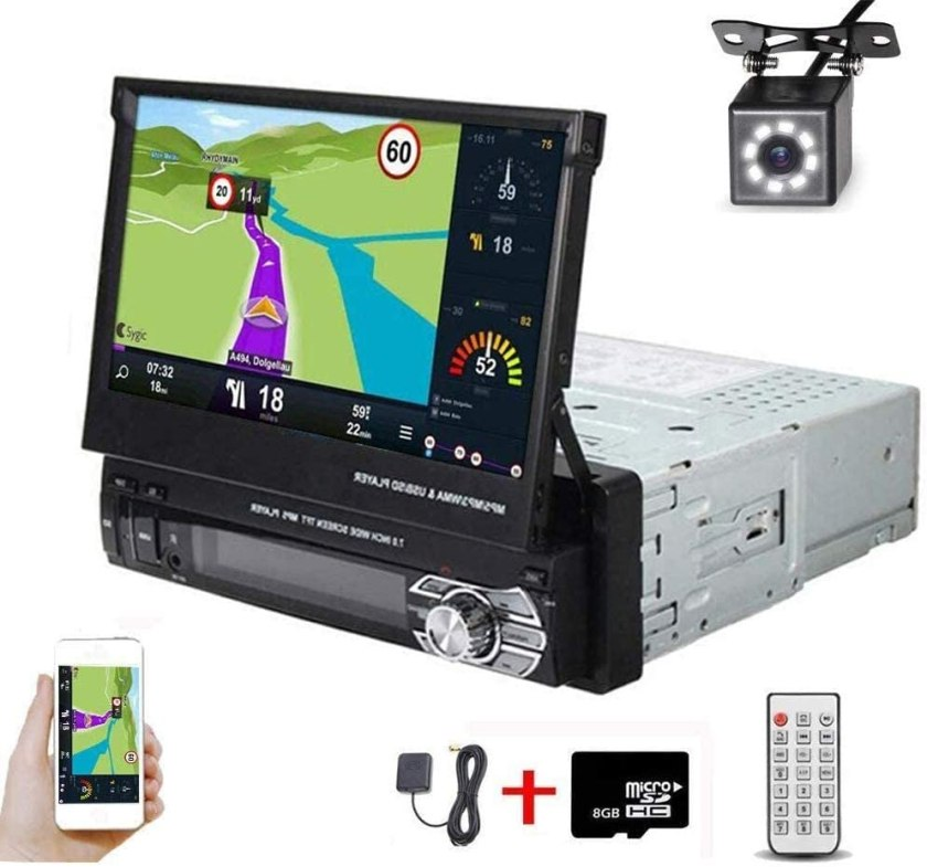 Hikity Single Din Car Stereo 7 Inch Touch Screen Radio with GPS Navigation