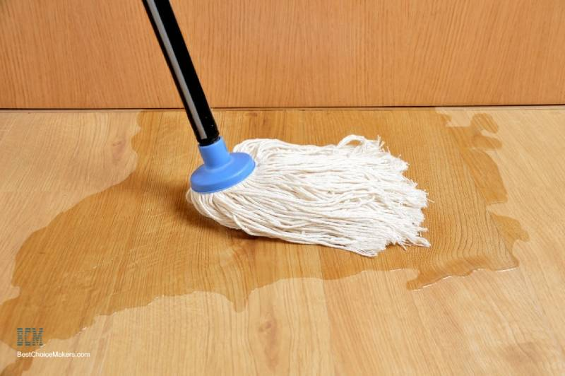 spilled water on laminate floor
