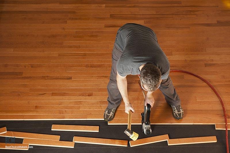 Nailing-Hardwood-Floor with Pneumatic Nailer