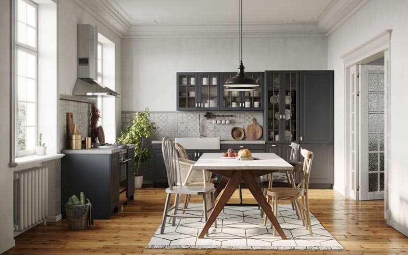 Small kitchen and dining area with kitchen rug