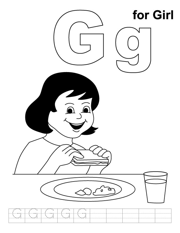 G For Girl Coloring Page With Handwriting Practice