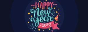 Black Happy New Year 2019 Facebook Timeline banner