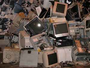 A lot of old computers, TVs and other electronics