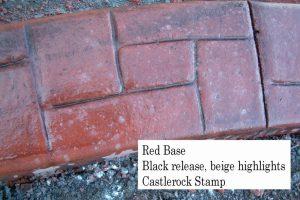 Base- red  Release- black beige specks Stamp- castlerock curb