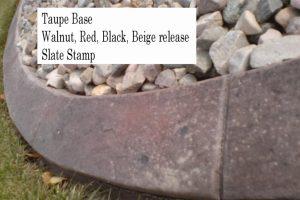 Base-  taupe  Release-  walnut, red, black, beige Stamp- slate curb