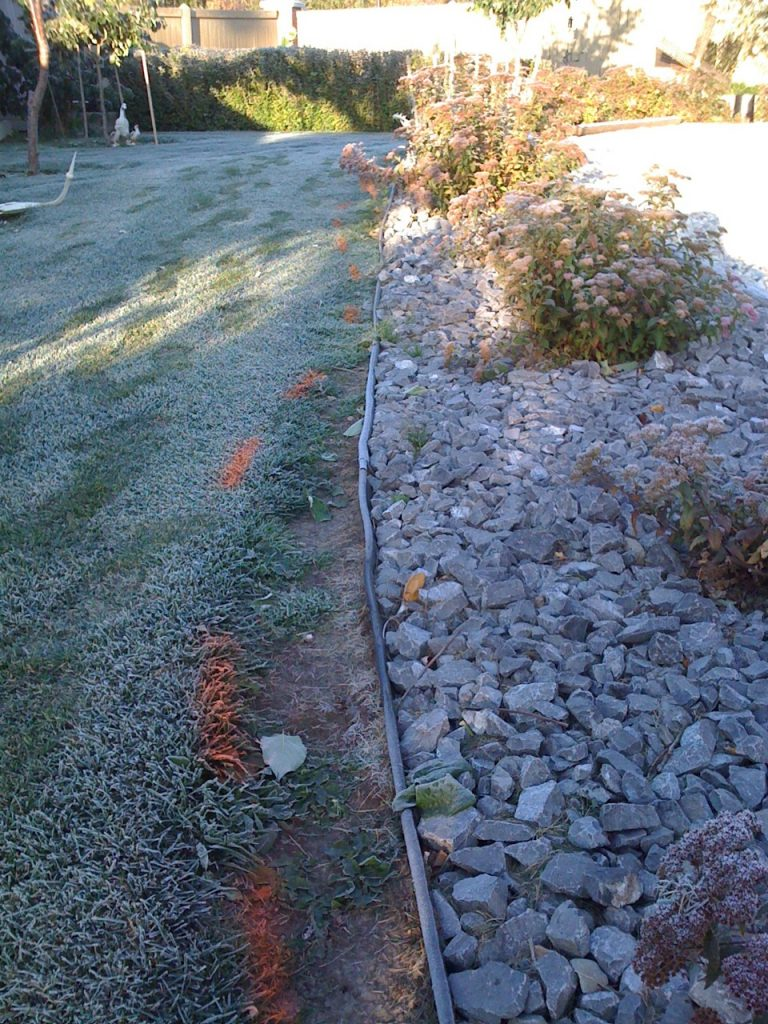 that plastic edging has to go!  it is useless for mowing, and makes the whole otherwise nice yard look BAD.